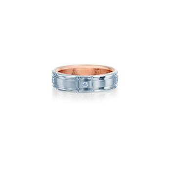 VWD-6928 Mens White & Rose Gold Diamond Wedding Band