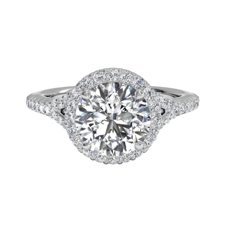 Ritani Clearance French-set Halo Diamond 'V' Band Engagement Ring