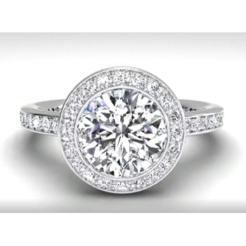 Vintage Halo Micropavé Diamond Band Engagement Ring