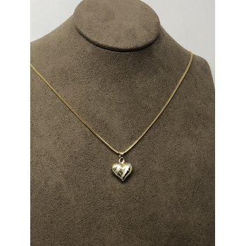 Yellow gold heart pendant with white gold stripe effect