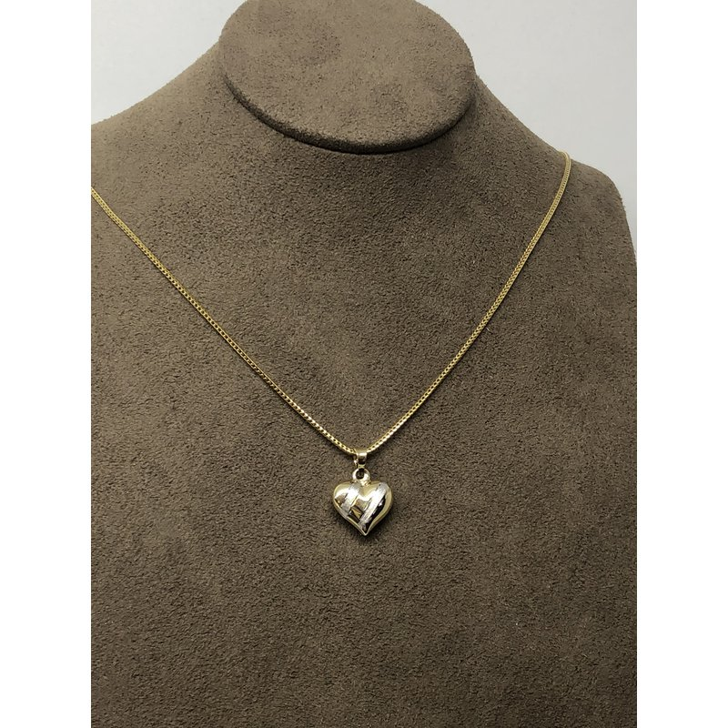 CLEARANCE Yellow gold heart pendant with white gold stripe effect