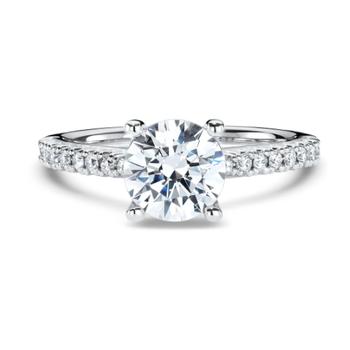 French-set Diamond Band Engagement Ring