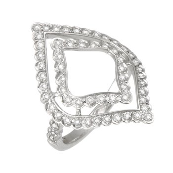 White Gold Open Marquise Shaped Diamond Ring