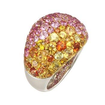 Two Tone Multicolor Sapphire Ring