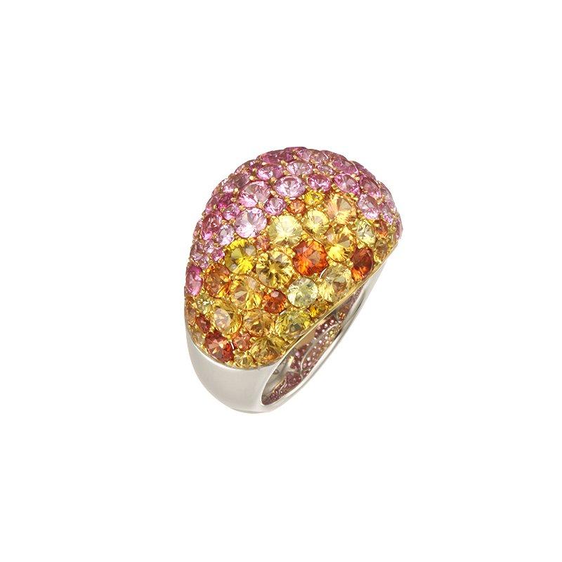 Devon Fashion Two Tone Multicolor Sapphire Ring