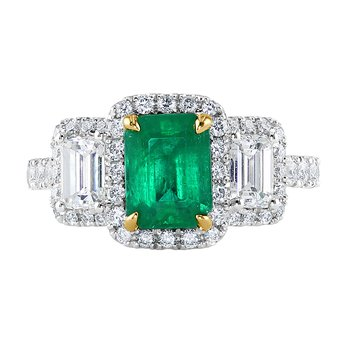 Two Tone Emerald Ring with Diamonds