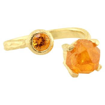 Sharing The Rough Yellow Gold Mandarin Garnet Bypass Ring