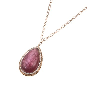 Rose Gold Tourmaline Drop Necklace