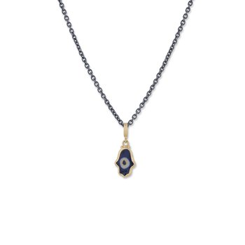 22K Gold Ceramic Evil Eye Hamsa Pendant on Oxidized Silver Chain