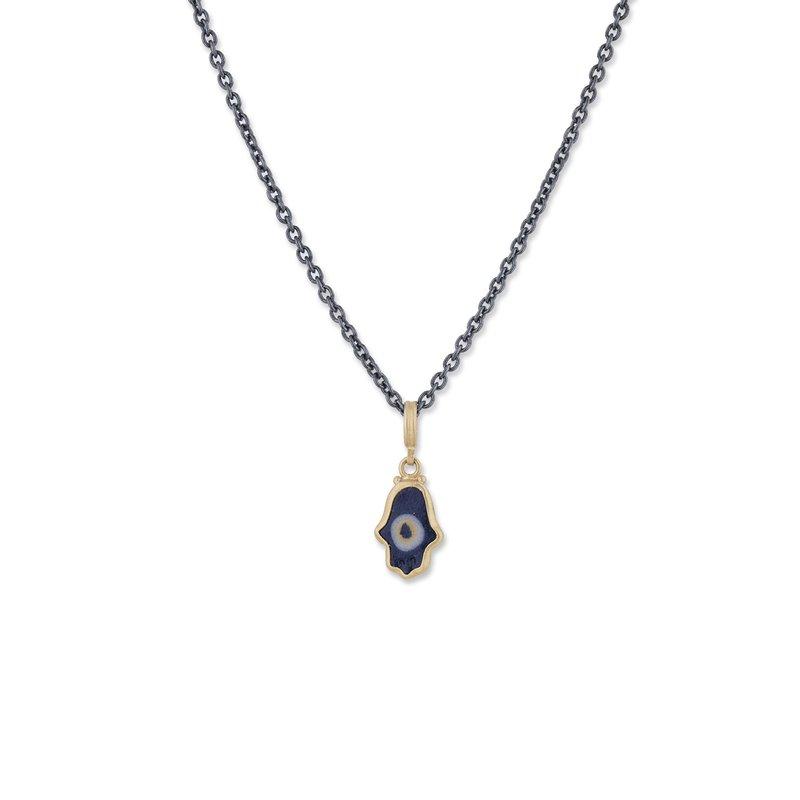 Lika Behar Collection 22K Gold Ceramic Evil Eye Hamsa Pendant on Oxidized Silver Chain