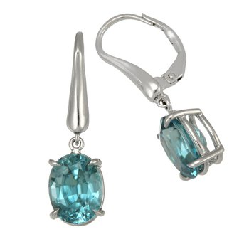 White Gold Oval Blue Zircon Earrings