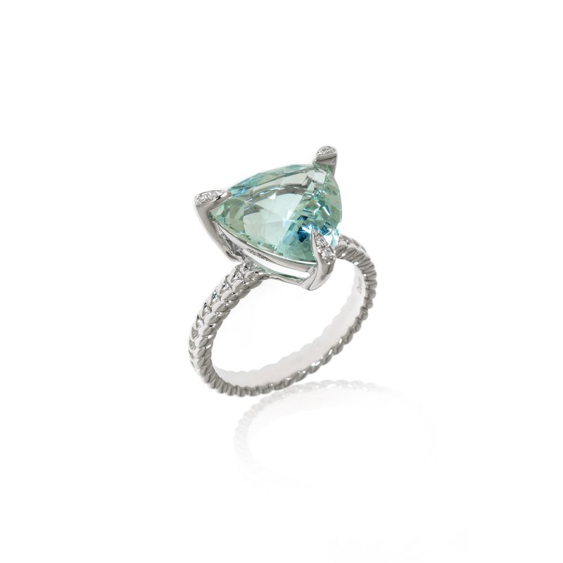 Devon Original White Gold Trillion Aquamarine and Diamond Ring