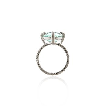White Gold Trillion Aquamarine and Diamond Ring