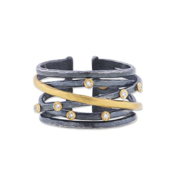 Gold and Oxidized Sterling Silver Fusion Ring with Diamonds