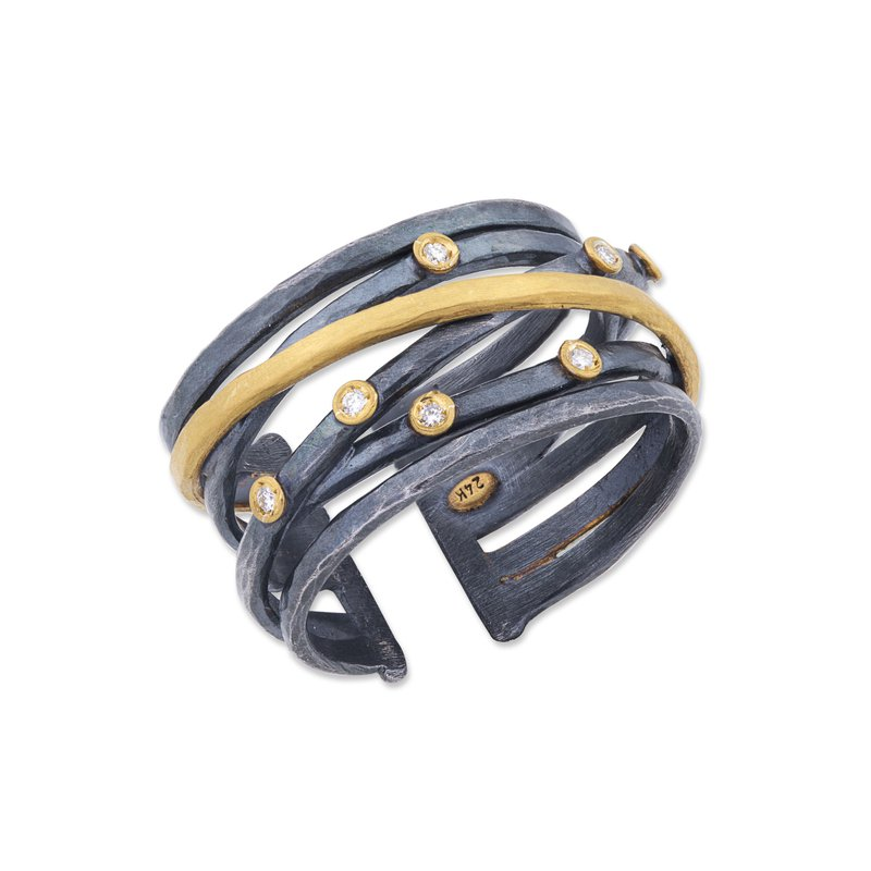 Lika Behar Collection Gold and Oxidized Sterling Silver Fusion Ring with Diamonds