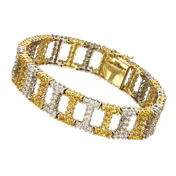 Two Tone Diamond and Yellow Sapphire Bracelet