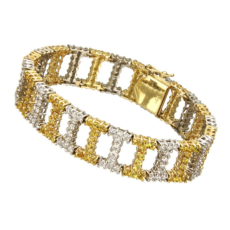 Devon Fashion Two Tone Diamond and Yellow Sapphire Bracelet