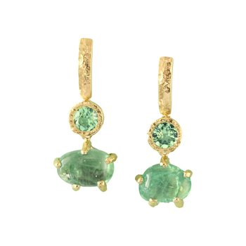 Sharing The Rough Mint Green Garnet Drop Earrings