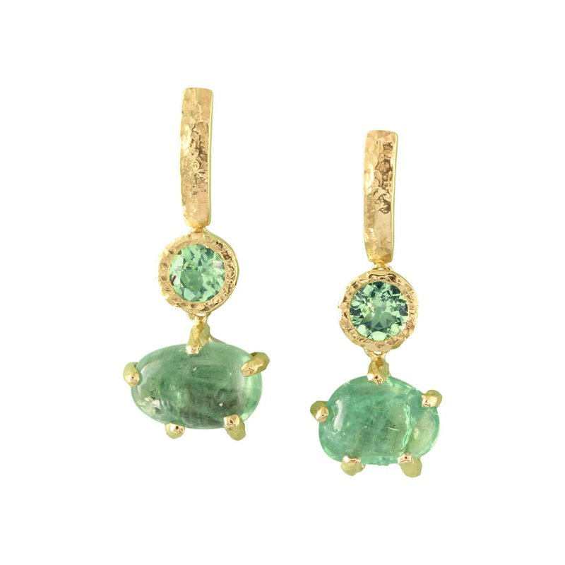 Sharing The Rough Jewelry Collection by Parle Sharing The Rough Mint Green Garnet Drop Earrings