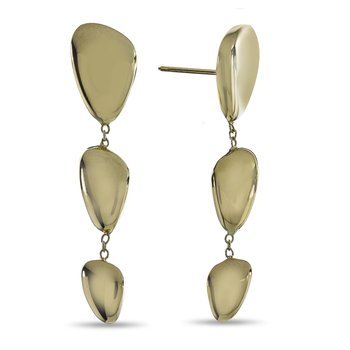 Yellow Gold Organic Bean Drop Earrings