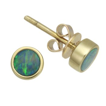 Yellow Gold Tiny Opal Stud Earrings