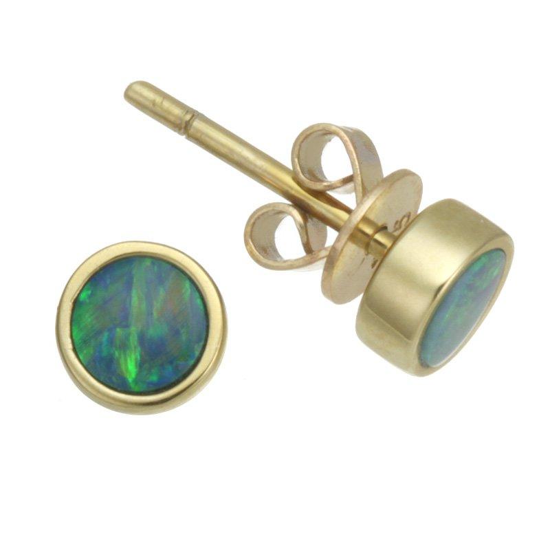 Devon Fashion Yellow Gold Tiny Opal Stud Earrings