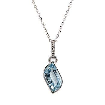 White Gold Aquamarine Pendant with Diamonds