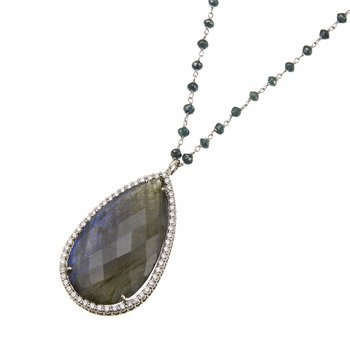White Gold Labradorite and Diamond Necklace