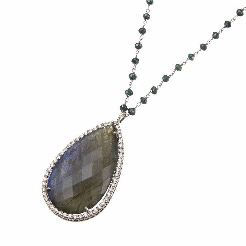 Devon Fashion White Gold Labradorite and Diamond Necklace