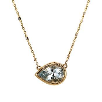 Yellow Gold Pear Shape Aquamarine Necklace