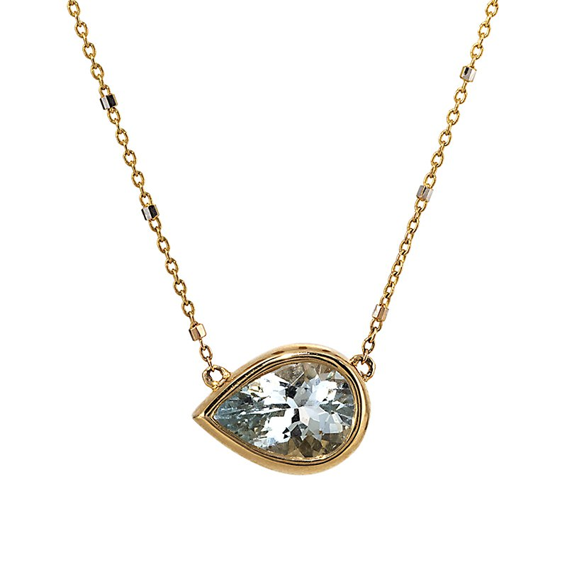Devon Original Yellow Gold Pear Shape Aquamarine Necklace