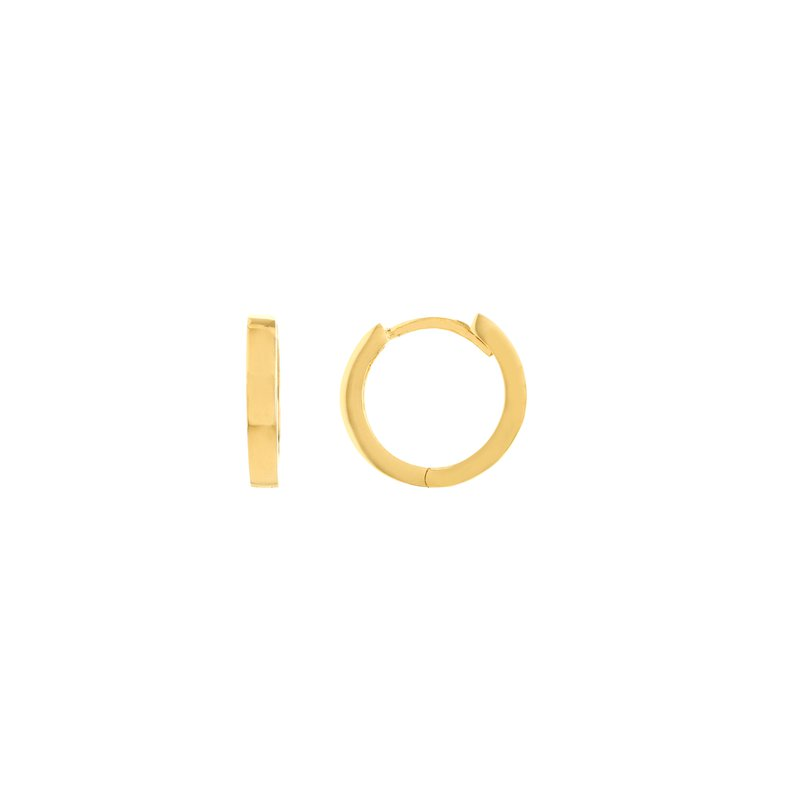 Devon Fashion Yellow Gold Square Tube Huggy Earrings