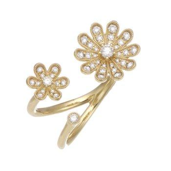 Yellow Gold Diamond Flower Ring