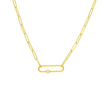 Yellow Gold Fancy Paperclip Necklace with Diamond