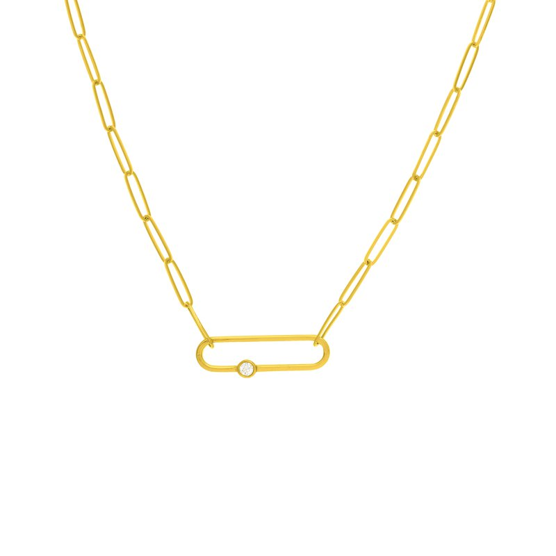 Devon Fashion Yellow Gold Fancy Paperclip Necklace with Diamond