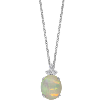 White Gold Opal and Diamond Pendant
