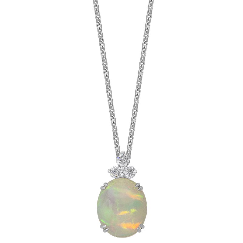 Spark Creations White Gold Opal and Diamond Pendant
