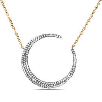White Gold Crescent Moon Diamond Necklace