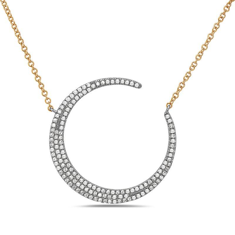 Dilamani White Gold Crescent Moon Diamond Necklace