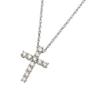 White Gold Diamond Cross Pendant with Chain