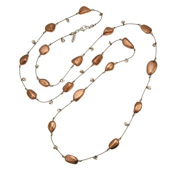 Long Silk Necklace with Copper and Crystal Beads