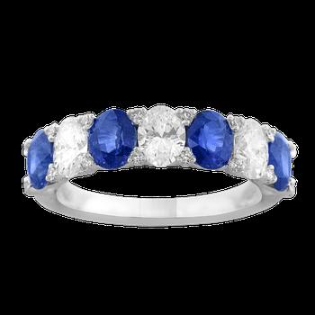 Platinum Blue Sapphire and Diamond Band