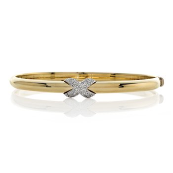 Yellow Gold Bangle Bracelet with Diamonds