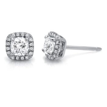White Gold Halo Diamond Stud Earrings