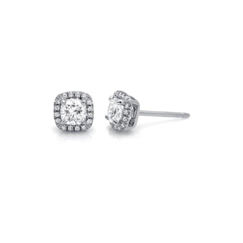 Superior Diamond Cutters White Gold Halo Diamond Stud Earrings