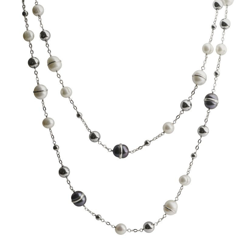 Imperial Sterling Silver Freshwater Pearl and Hematite Necklace