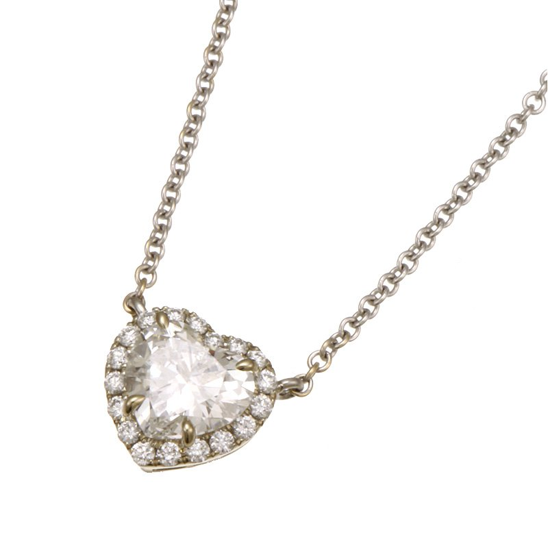 Devon Fashion White Gold Diamond Heart Necklace