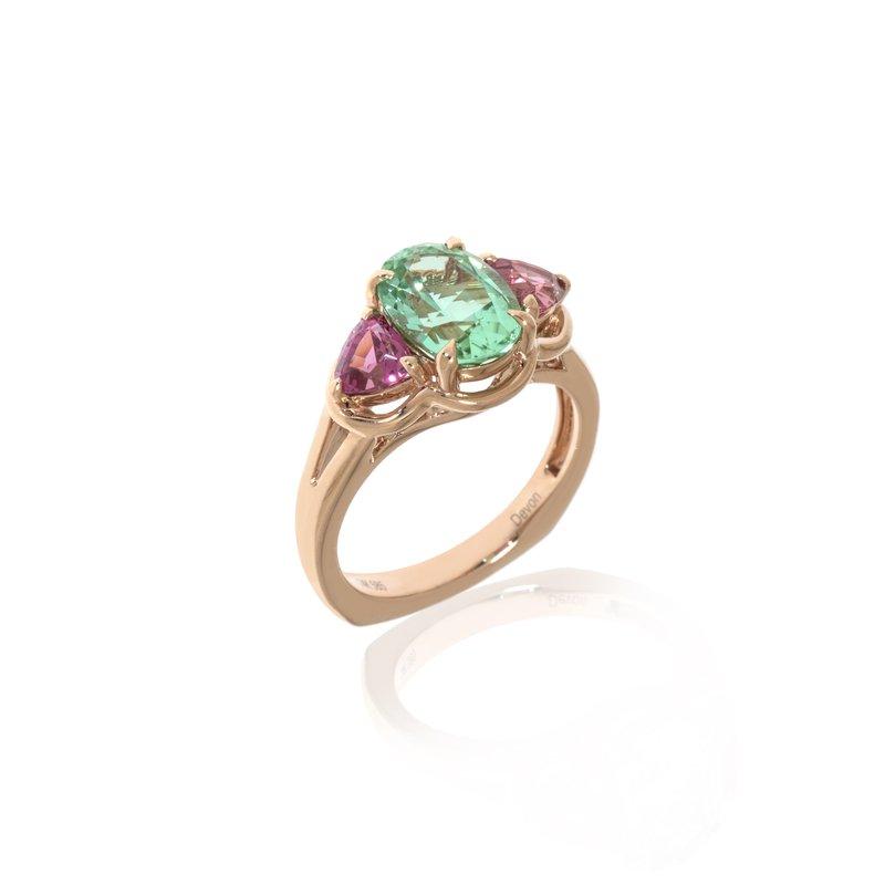 Devon Original Rose Gold Mint Tourmaline and Pink Spinel Ring