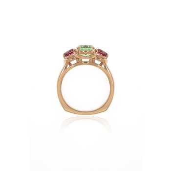 Rose Gold Mint Tourmaline and Pink Spinel Ring