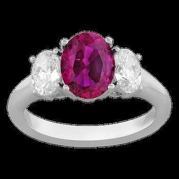Platinum 3-Stone Ruby and Diamond Ring